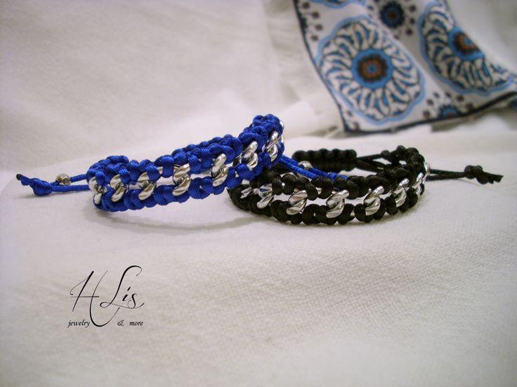 "Makrame chain bracelet royal blue-silver & black-silver with satin cord - ""Chained"" collection Μακραμέ βραχιολάκια μπλε ρουά-ασημί και μαύρο-ασημί με σατέν κορδόνι και ασημί αλυσίδα."