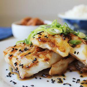 Teriyaki Alaskan Cod served with steamed rice                              …