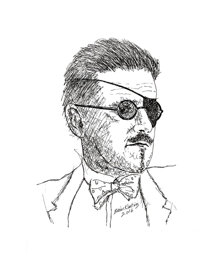 James Joyce: Original ink drawing on acid free paper. Overall Paper Size: 20 cm × 25 cm Posting/Shipping The drawing will be… #IrishArt