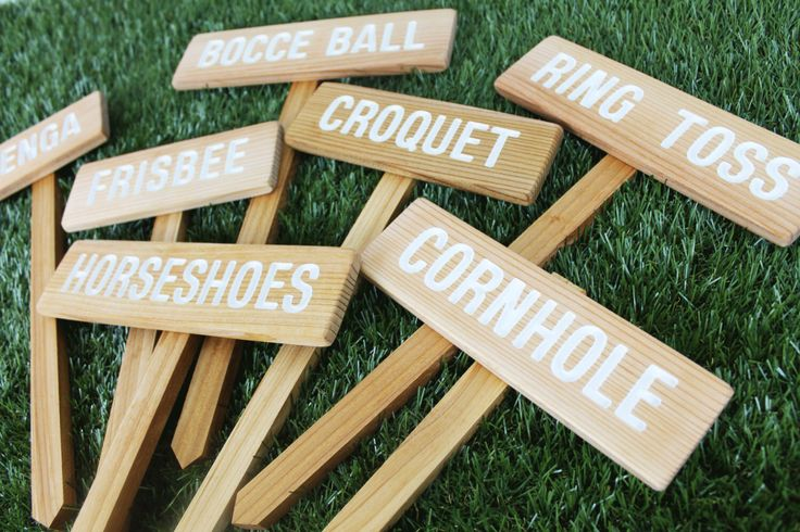 YARD GAME Signs, Party Signs, Wedding Game Signs, Family Reunion, BBQ, Bocce Ball, Croquet, Cornhole, Horseshoes, Lawn Games, Jenga, Frisbee by TheCommonSign on Etsy https://www.etsy.com/listing/151204827/yard-game-signs-party-signs-wedding-game