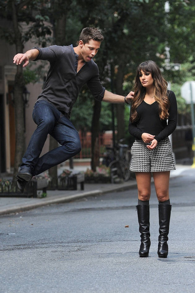 Dean Geyer's Brody Leaps in the Air Next to Lea Michele's Rachel While Filming Glee Season 4 in New York City on August 11, 2012