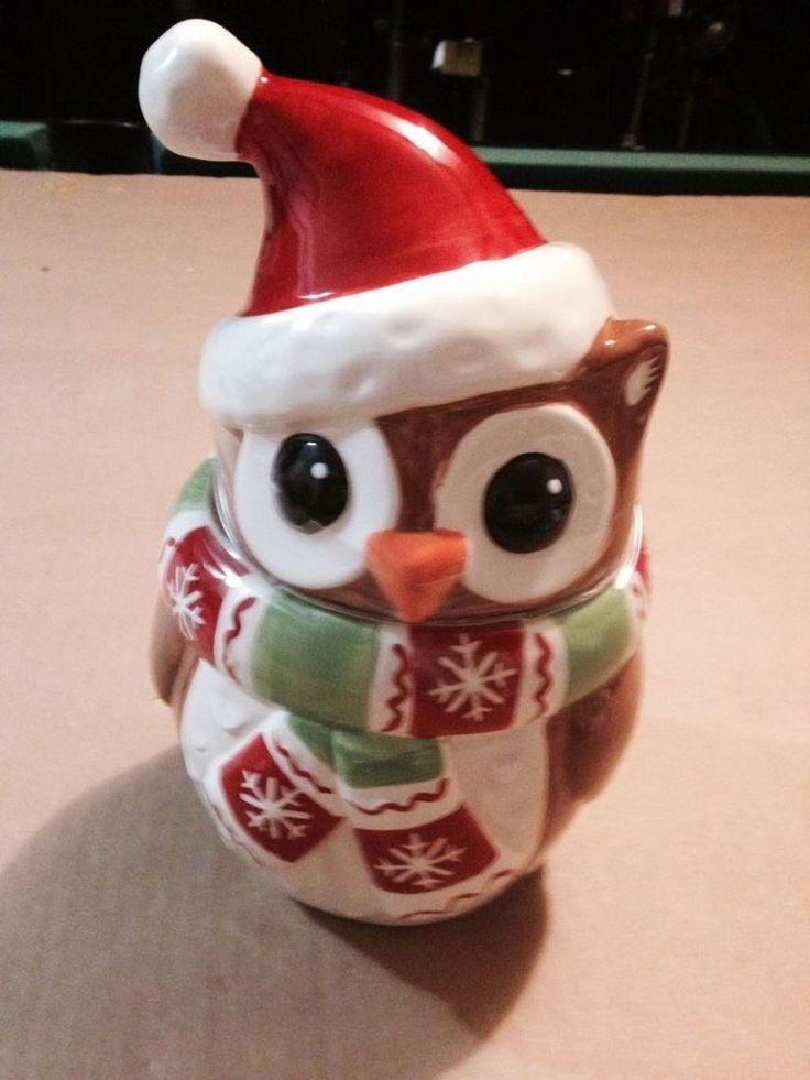 Holiday Christmas Santa Owl Cookie Jar Brand New 2014 Limited Edition Gardens Jars And Home