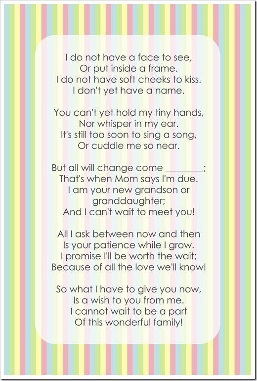 pregnancy poem for grandma and grandpa.