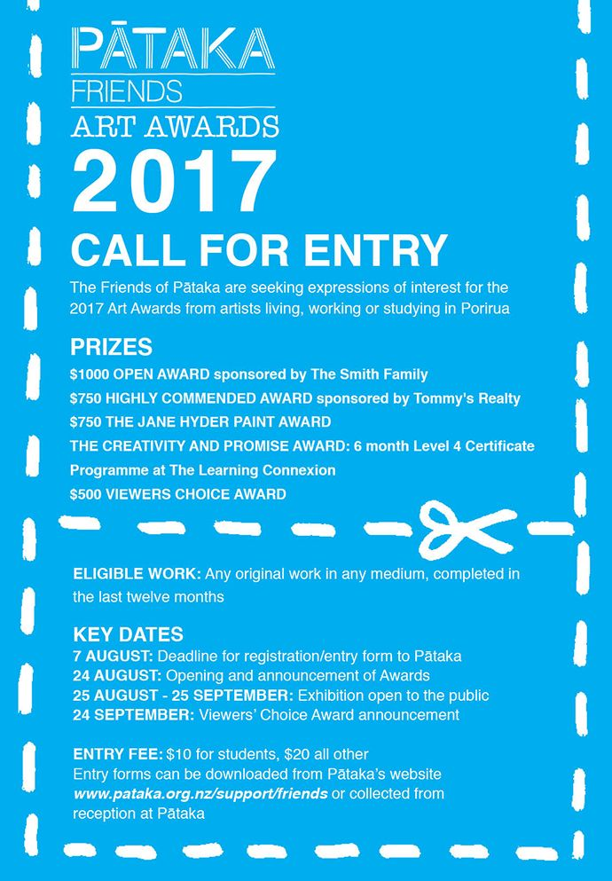 Pataka Friends Art Awards 2017 call for entry The Jane Hyder Award for Painting $750.