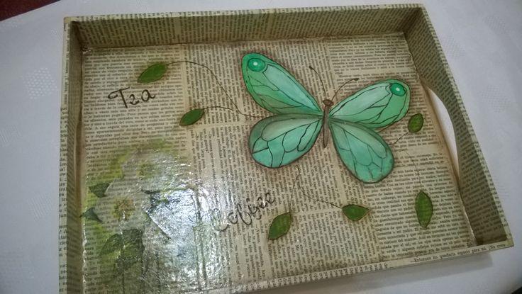 bandeja en tonos de verde sobre idea original de Lala Castro