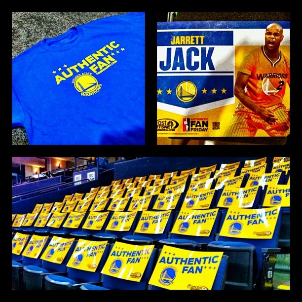 It's Authentic Fan Friday! Warriors Pregame Live starts at 7pm. Everyone in the arena gets a Jarrett Jack collectors cheer card and everyone sitting in section 212 gets an Authentic Fan t-shirt! #warriorstalk