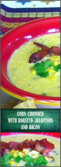 Corn Chowder with Roasted Jalapenos and Bacon ala Homesick Texan... Texan living in NEW YORK CITY has adapted her recipes from childhood and shared this wonderful sweet creamy chowder punched up with spices and chilis to make something amazing! Easy to do at home!!!