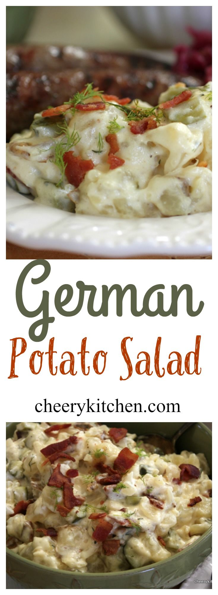 German Potato Salad, warm with a tangy dressing, dill pickles, and bacon, is traditionally served at Octoberfest with grilled Bratwurst and red cabbage.  It a delicious way to celebrate Fall harvest.  Give it a try!