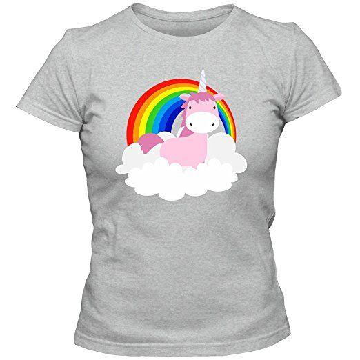 einhorn regenbogen t shirt damenshirt unicorn. Black Bedroom Furniture Sets. Home Design Ideas