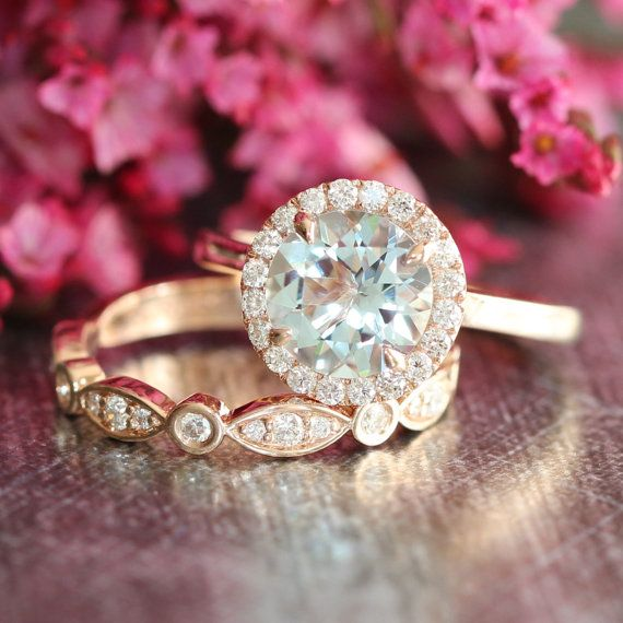Halo Wedding Ring Set Rose Gold Aquamarine Engagement Ring and Bezel Scalloped Diamond Wedding Band 8mm Aqua Gemstone Ring Bridal Set