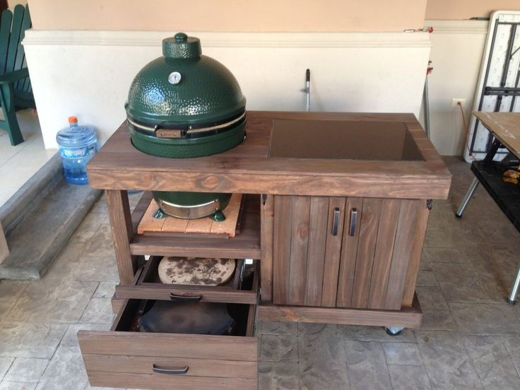 Nice Egg Grill Table With Drawers
