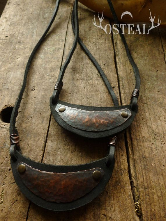 Half Moon necklace leather copper by Osteal on Etsy, $40.00