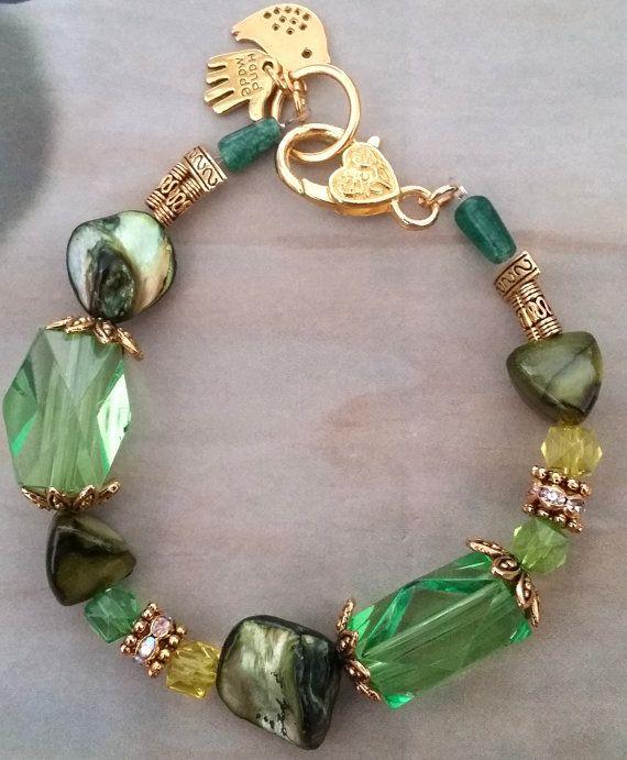 GREEN natural sea shell beaded golden color bracelet