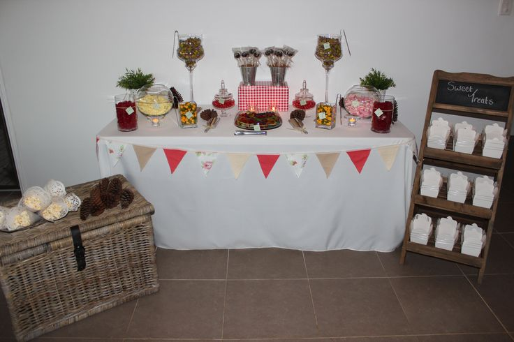 Country styled lolly buffet set up www.coasttocountryweddingsandevents.com.au