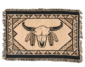 "Cotton Southwestern Placemat -13""""x19"""" -Buffalo Skull"