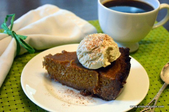 homemade pumpkin pie with gingersnap crust (follow link for the crust ...