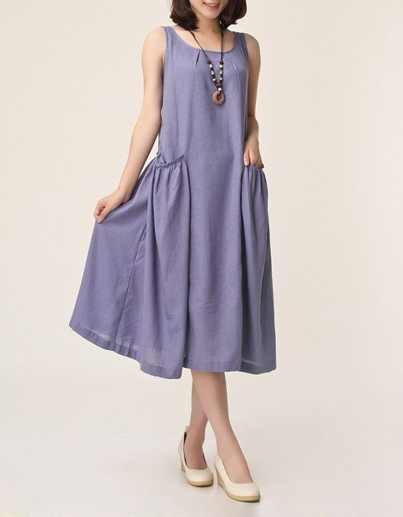 Light purple linen dress maxi dress by originalstyleshop on Etsy, $56.00