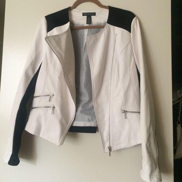 INC Asymmetrical black and white moto jacket INC Asymmetrical black and white moto jacket worn once INC International Concepts Jackets & Coats