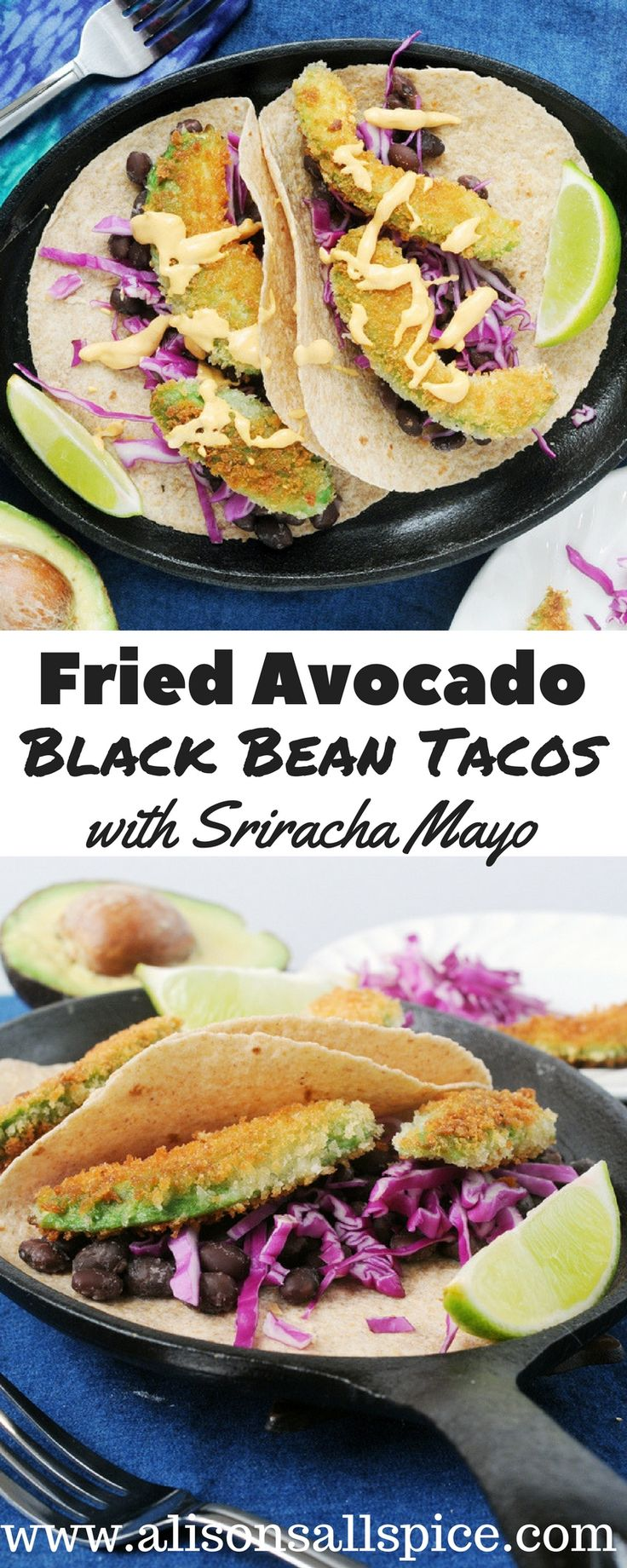 In my fried avocado black bean tacos, the avocado is coated in panko and lightly fried for crispy yet creamy taco topper! Serve over seasoned black beans!
