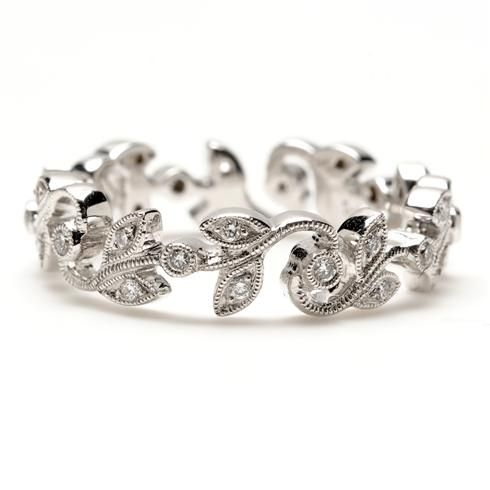 Beverley K Vine Gold Diamond Eternity Band. Available by special order in 18k Rose Gold, Yellow Gold & Platinum $1850.