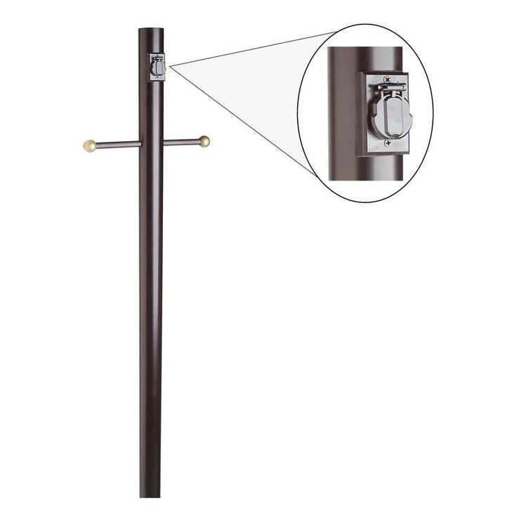 Black Lamp Post with Cross Arm and Electrical Outlet
