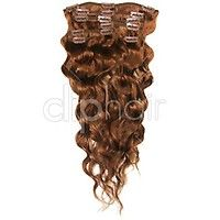 20 Inch Double Wefted Full Head Remy Clip in Human Hair Extensions – Light Auburn (#30)