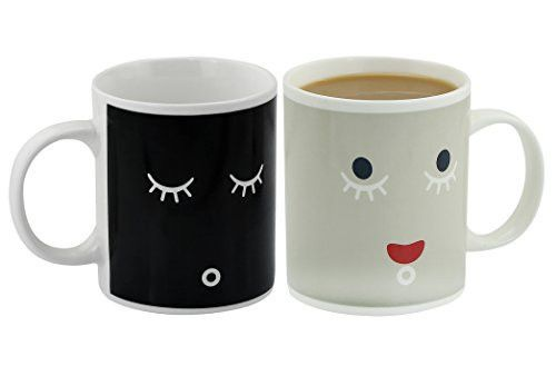 Ipow Pack of 2 Neat Magic Color-changing Coffee Mugs