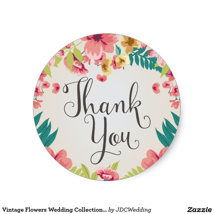 Vintage flowers wedding collection thank you classic round sticker