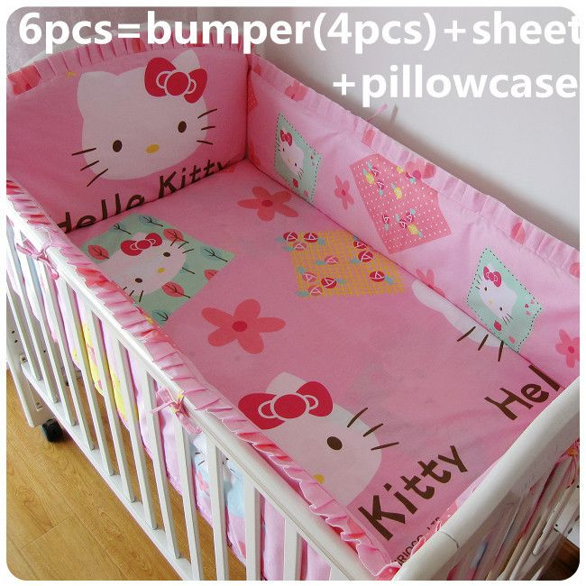 Promotion! 6/7PCS Hello Kitty Newborn Baby Bedding Set for Girls,Cheap Price Kit Crib Bedding,duvet cover ,120*60/120*70cm