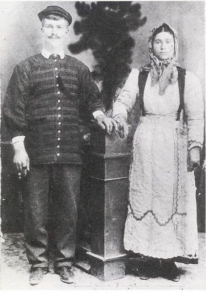 OLD PHOTO FROM AVLONAS ATTICA-AVLONAS 1908. A middle age married couple.All rights reserved.