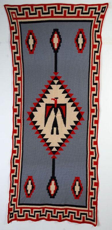 Native American Design Crocheted Blanket: Ca. 1940