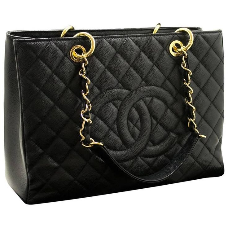 "CHANEL Caviar GST 13"" Grand Shopping Tote Chain Shoulder Bag Black  1"