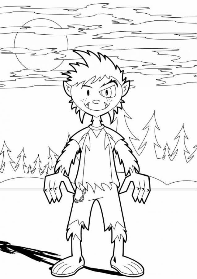 a boy transforming into werewolf coloring pages