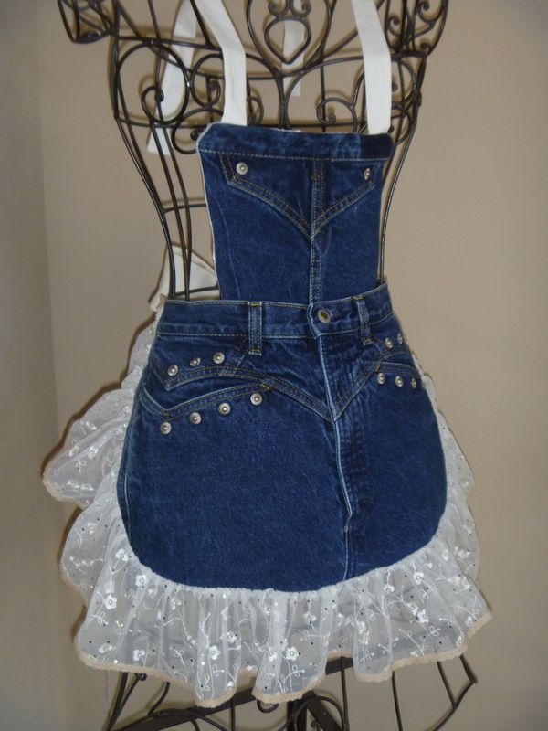 Denim Aprons - by Redneck Girl Aprons - Rocky jeans with metal studs, blinged lace with tiny crocheted edging, detachable bib #Denim #Apron #Crafts - LOVE this (and she has more) †å