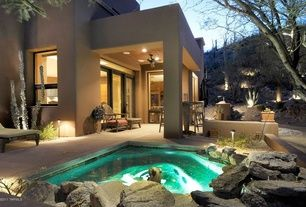 Southwestern Hot Tub with exterior stone floors