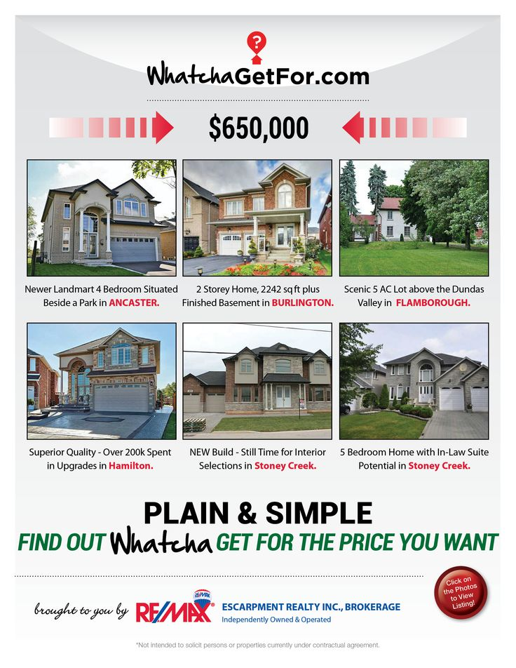 Looking for a home between $625,000 - 675,000 price point?   Check out what RE/MAX Escarpment has to offer!  If these homes are not within your price range, then check out www.whatchagetfor.com to find a home in your budget.