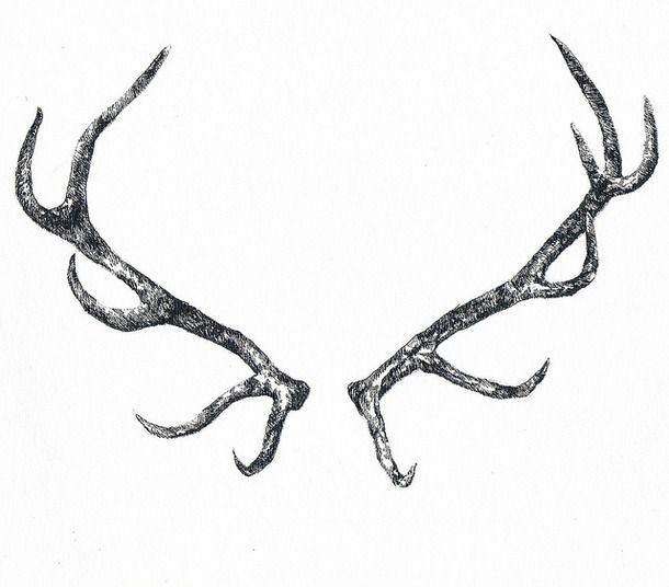 black, deer, horn, illustration | Tattoos | Pinterest ...
