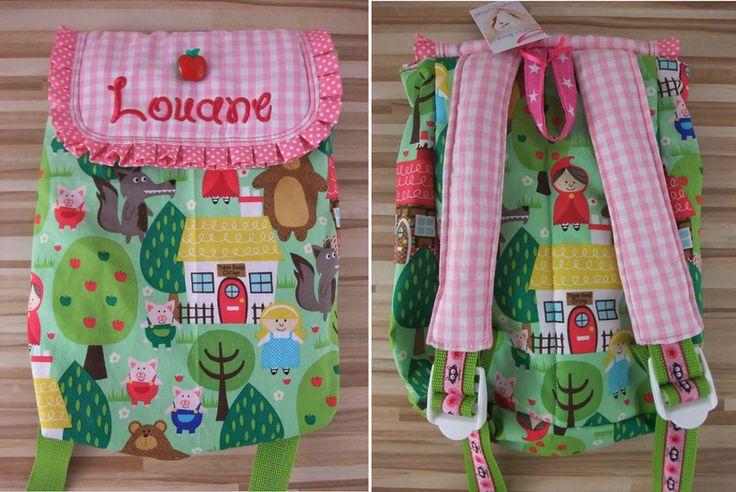 Rucksäcke - Märchenwald Kinderrucksack mit Namen bestickt - ein Designerstück von byFlorine bei DaWanda