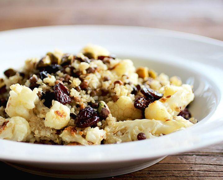 Quinoa Lentil Pilaf With Roasted Cauliflower, Pistachios and Cranberries