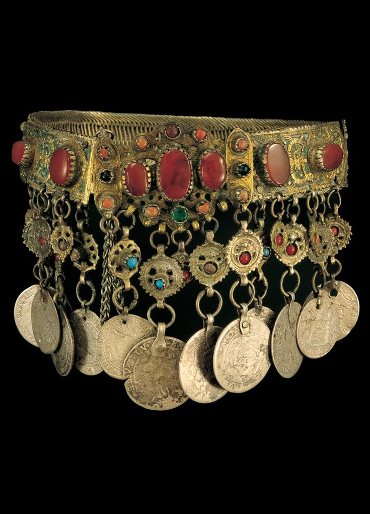 Greece | Neck ornament of silver wire mesh and applique enamel plaques, semi precious stones and pendants made from foreign coins | This type of ornament is from Thrace and Macedonia | 18th century