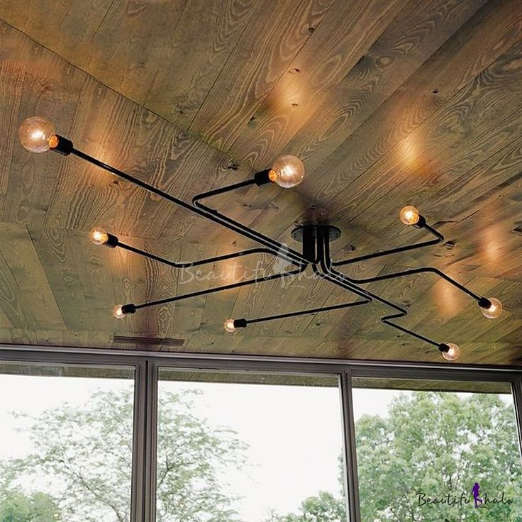 Industrial Edison Bulb Wrought Iron 8 Light Large  Semi Flush Ceiling Light in Black $99