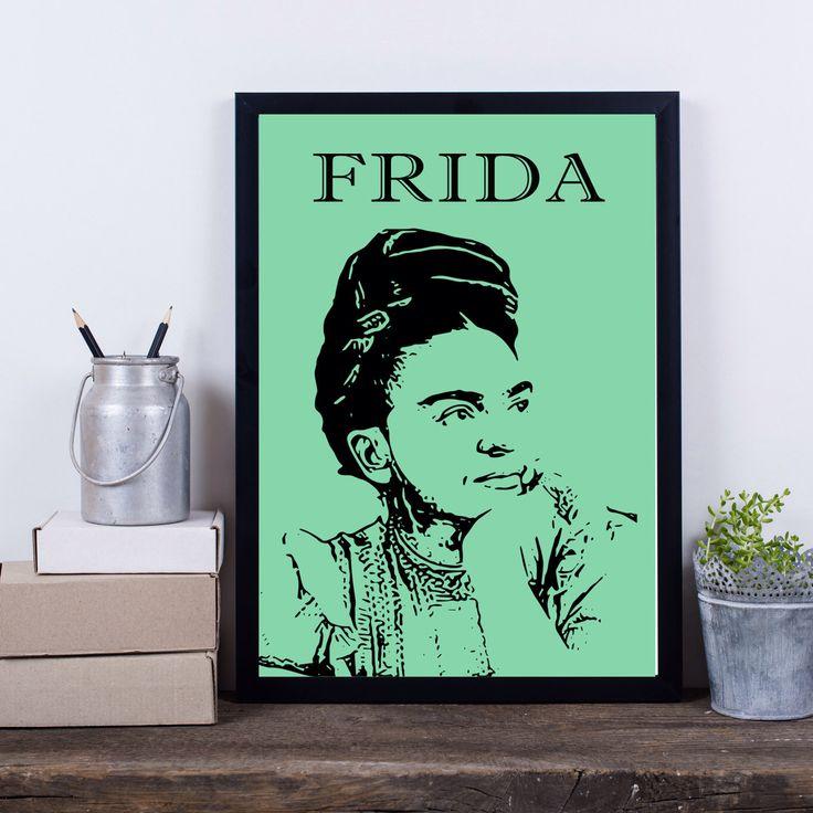 Frida Kahlo print, Frida Kahlo art, Frida poster, modern contemporary wall art, green Kahlo poster, Frida Kahlo portrait wall minimal decor by S4StarSbySiSSy on Etsy https://www.etsy.com/ca/listing/279642066/frida-kahlo-print-frida-kahlo-art-frida