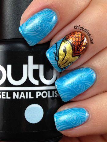 Messy Mansion Stamping: Koi fish & water nails