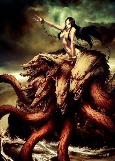 Scylla est un monstre à six têtes possédant une triple rangée de dents et douze pieds. Les têtes de chiens de la ceinture de ce monstre immortel, aboieront en permanence. Scylla vivra dans une grotte, en face de Charybde.