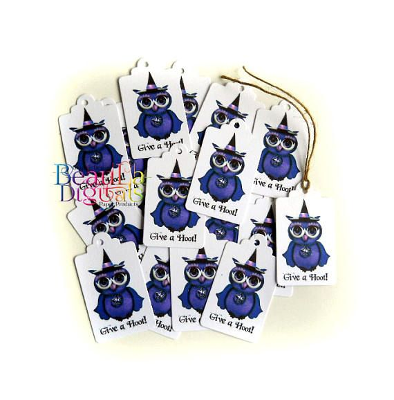Owl Witch Tags Purple Witch Give a Hoot Halloween tags