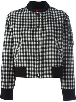gingham check bomber jacket