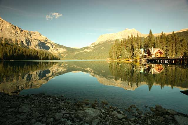 The lodge is located on a private island on Emerald Lake, in spectacular Yoho National Park. Yoho is Canada's second national park, founded one year after Banff, in 1886.
