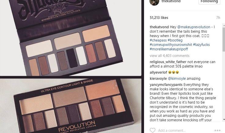 Σήμερα ηKat Von D ανέβασε στο λογαριασμό της στο Instagram φωτογραφία με την πασίγνωστη best selling παλέτα της Shade and Light Contour Palette και το αντίγραφό της απο την εταιρεία Makeup Revolut…