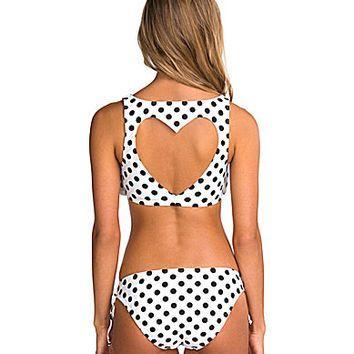 Bikini Lab Dot Stuff Flounce Heart Cutout Bra Top & Tunnel-Tie Hipster Bottom - InStores