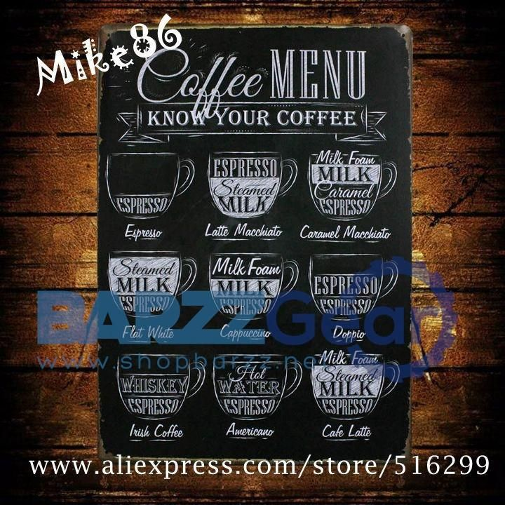Vintage Metal Sign 'COFFEE MENU-Mike86' Pub Art Wall Decor  #nightlife #bartender #beer #cocktail #barrescue #mancave #barzznet #wine #happyhour #barzz @barzz